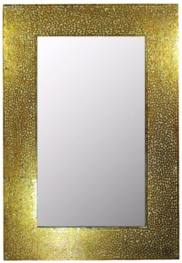 Benjara, Gold Benzara Mosaic Rectangular Mirror