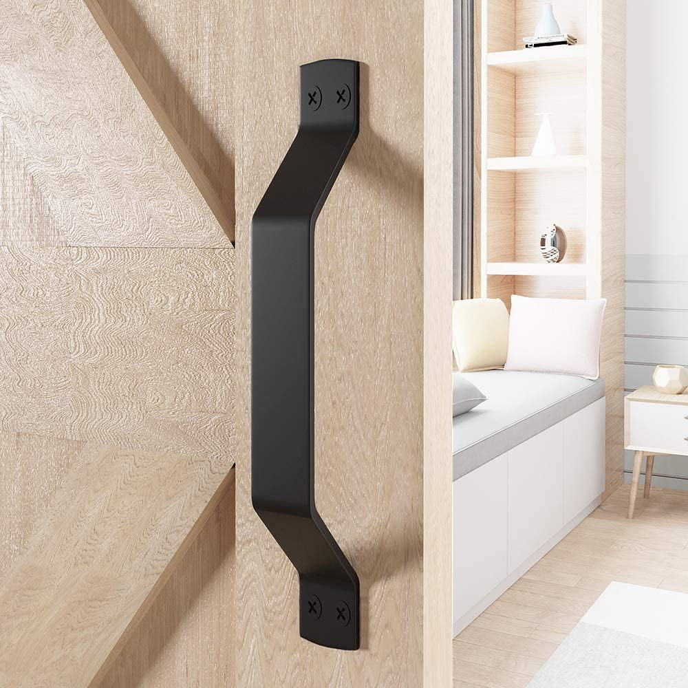 WINSOON Rustic Barn Door Handles, Set of 2 Pcs Black Painted Solid Steel Gate Handle Pull, Comfortable & Handy, 9'' Heavy Duty Hardware Snugly Fits for Cabinet Fence Drawer