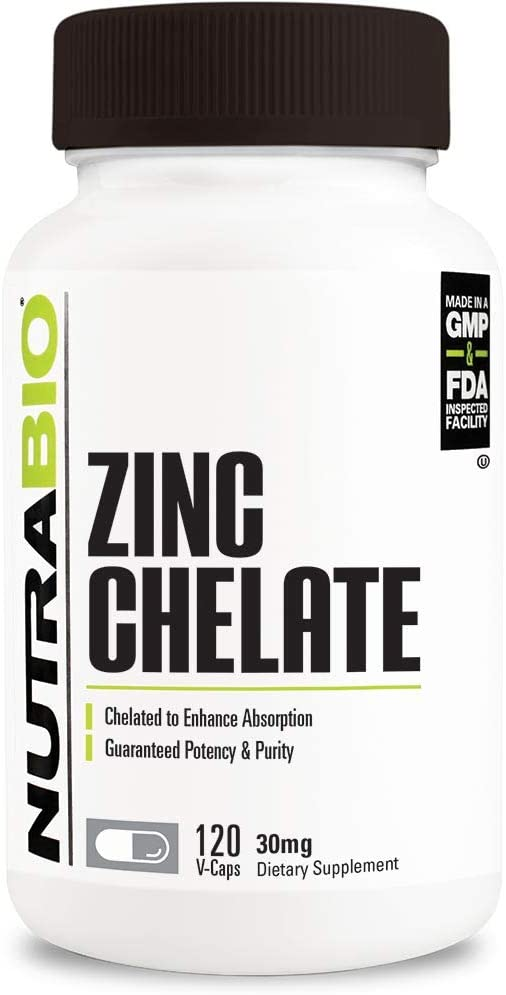 NutraBio Zinc Chelate 30mg - 120 Vegetable Capsules