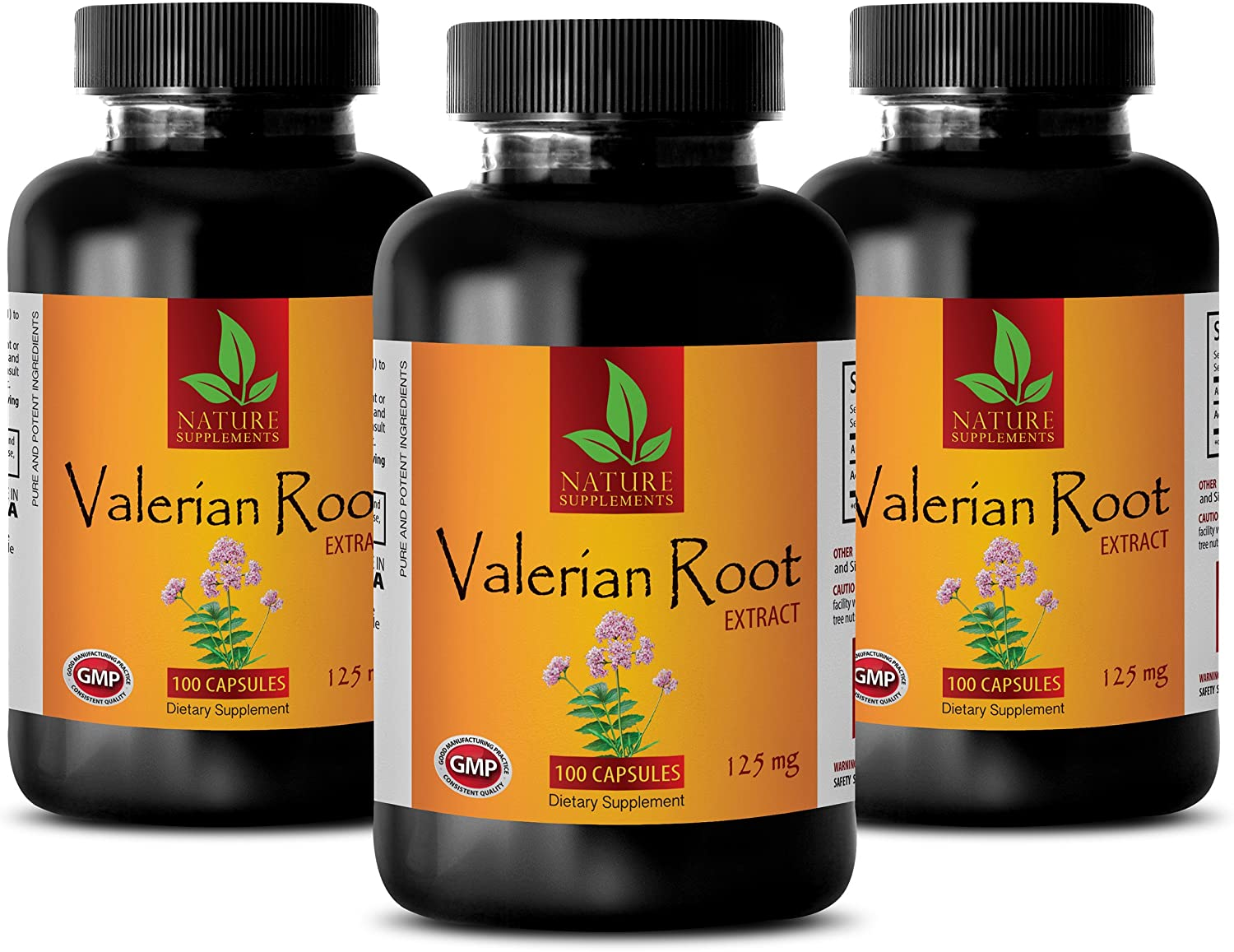 Sleeping aid Non Habit - Valerian Root Extract 125 MG - Dietary Supplement - Valerian Root Anxiety Pills - 3 Bottles (300 Capsules)