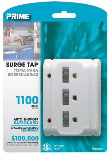 Prime PB802110 3 Outlet 1100 Joule Surge Tap, Auto Shut Down, White