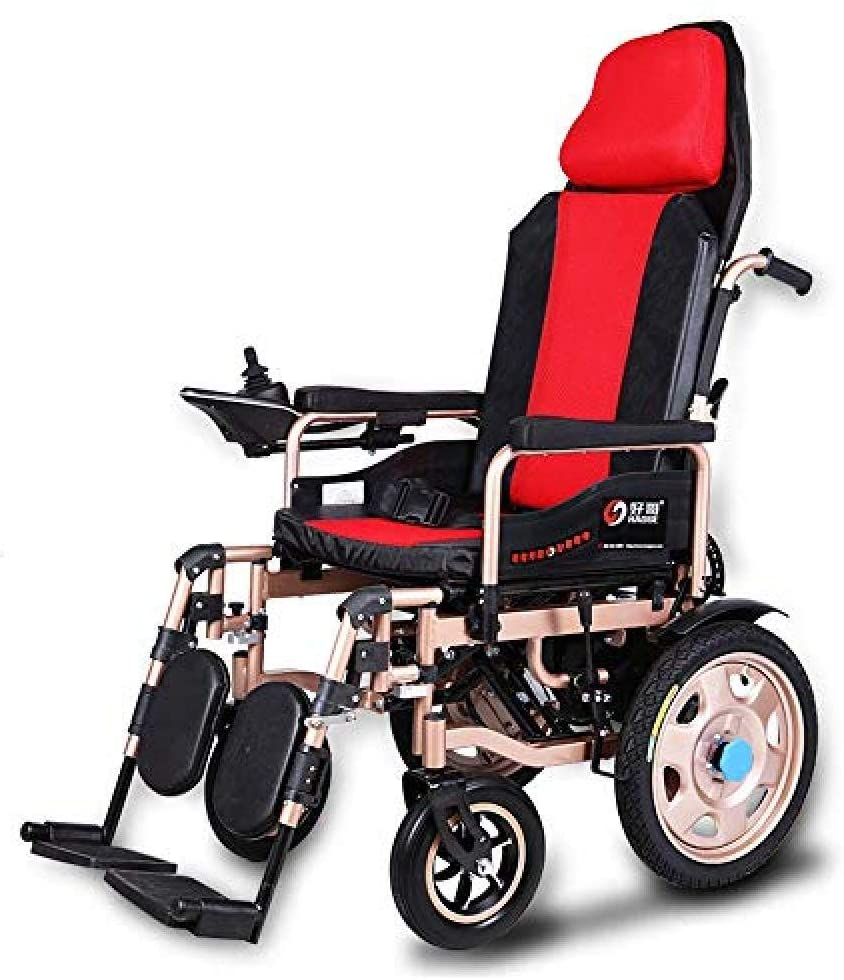 BXZ Durable Wheelchair Folding Portable Powerchair Chair Lightweight Foldable Power Wheelchair Electric Wheelchairs Lightweight Dual Function Folding Portable Travel Out