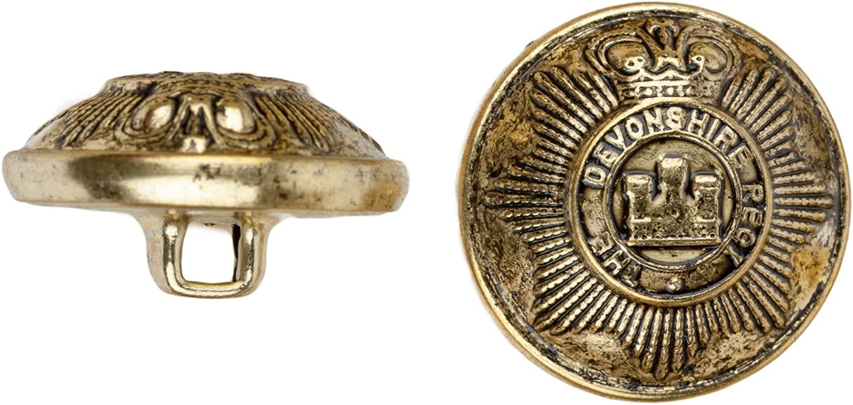 C&C Metal Products 5024 Devonshire Metal Button, Size 45 Ligne, Antique Gold, 36-Pack
