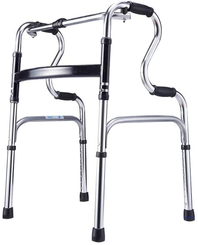 HTLLT Walking Aid Medical Instruments Walker Adjustable Walking Frame 7-Speed Height Adjustment Double-Bend Design Non-Slip Handle Aluminum Alloy Portable Suitable for Elderly Disabled,Black