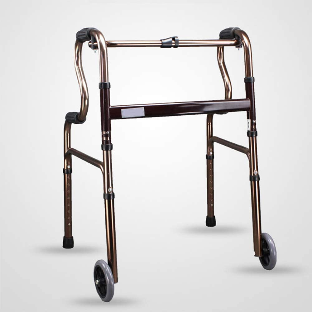 HTL Walking Aid Elderly Walker Wheeled Disabled Walker Auxiliary Aluminum Multi-Function Walker, Elderly Walker with Wheeled Four-Wheeled Walker