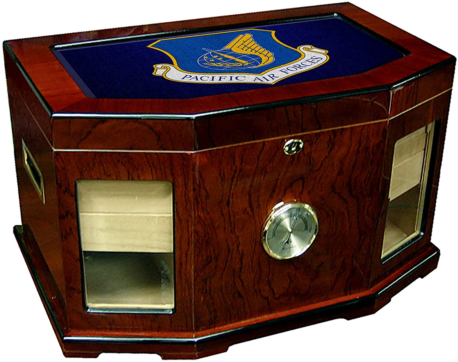 Large Premium Desktop Humidor - Glass Top -US Pacific Air Forces (PACAF)