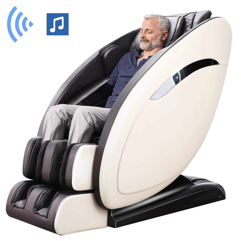Ootori SL-Track Massage Chair, Yoga Strength 3D Robert Zero Gravity Full Body Shiatsu Massage Recliner Chair with Heating&3-Row-Footroller,Bluetooth,Brown
