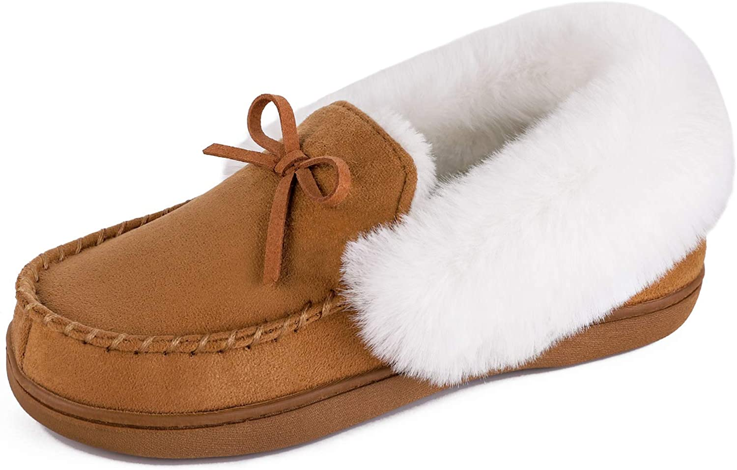 HomeIdeas Womens Faux Fur Lined Suede House Slippers, Breathable Indoor Outdoor Moccasins