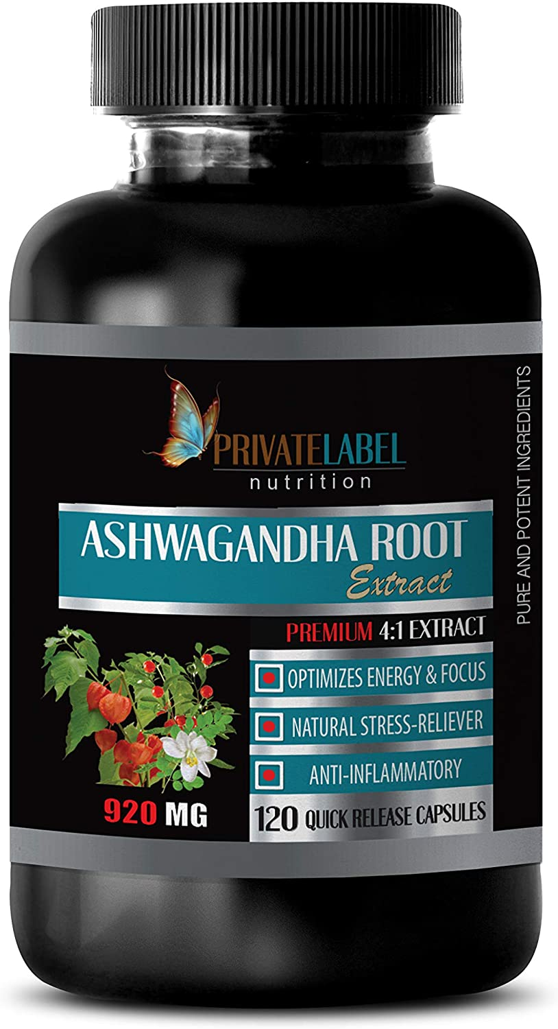 Anxiety and Depression Relief Supplements - ASHWAGANDHA Root Premium 4:1 Extract - ashwagandha Fertility - 1 Bottle 120 Capsules