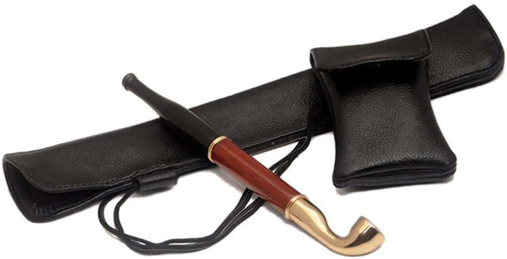 LEZDPP Classic Long Tube Mahogany Pipe for Smoking, Detachable Handle for Cigarette Filter