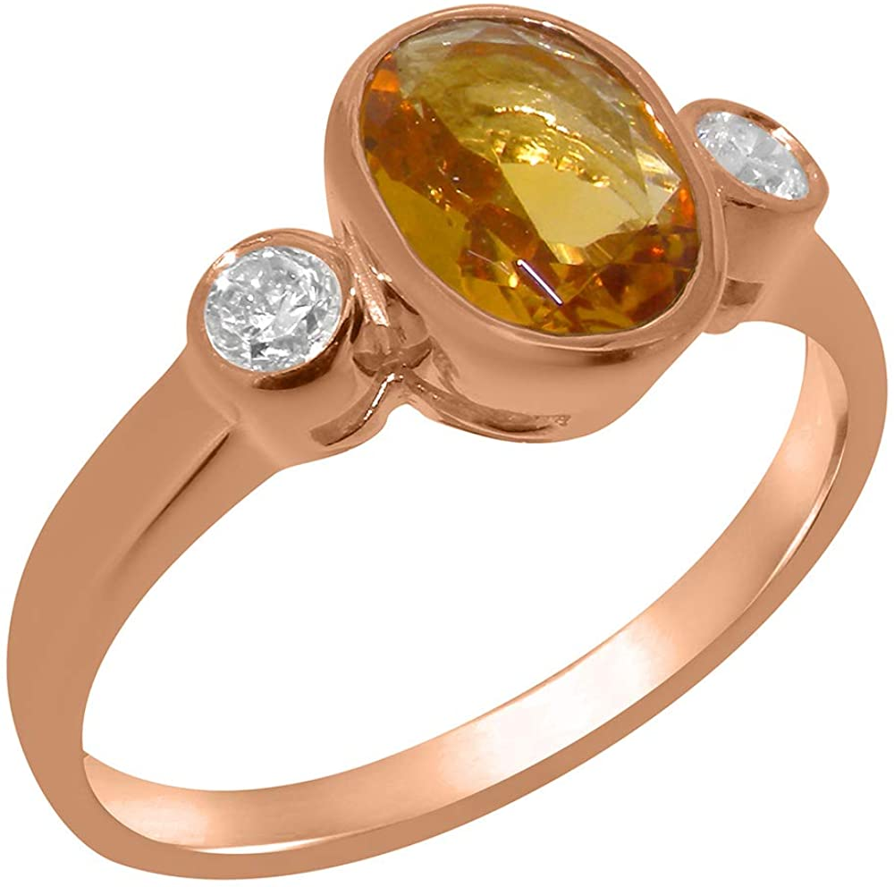 Solid 14k Rose Gold Natural Citrine & Diamond Womens Trilogy Ring - Sizes 4 to 12 Available