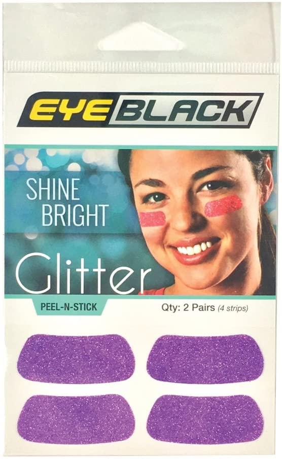 EyeBlack Purple Softball Glitter Eye Black Strips, 2 Pair