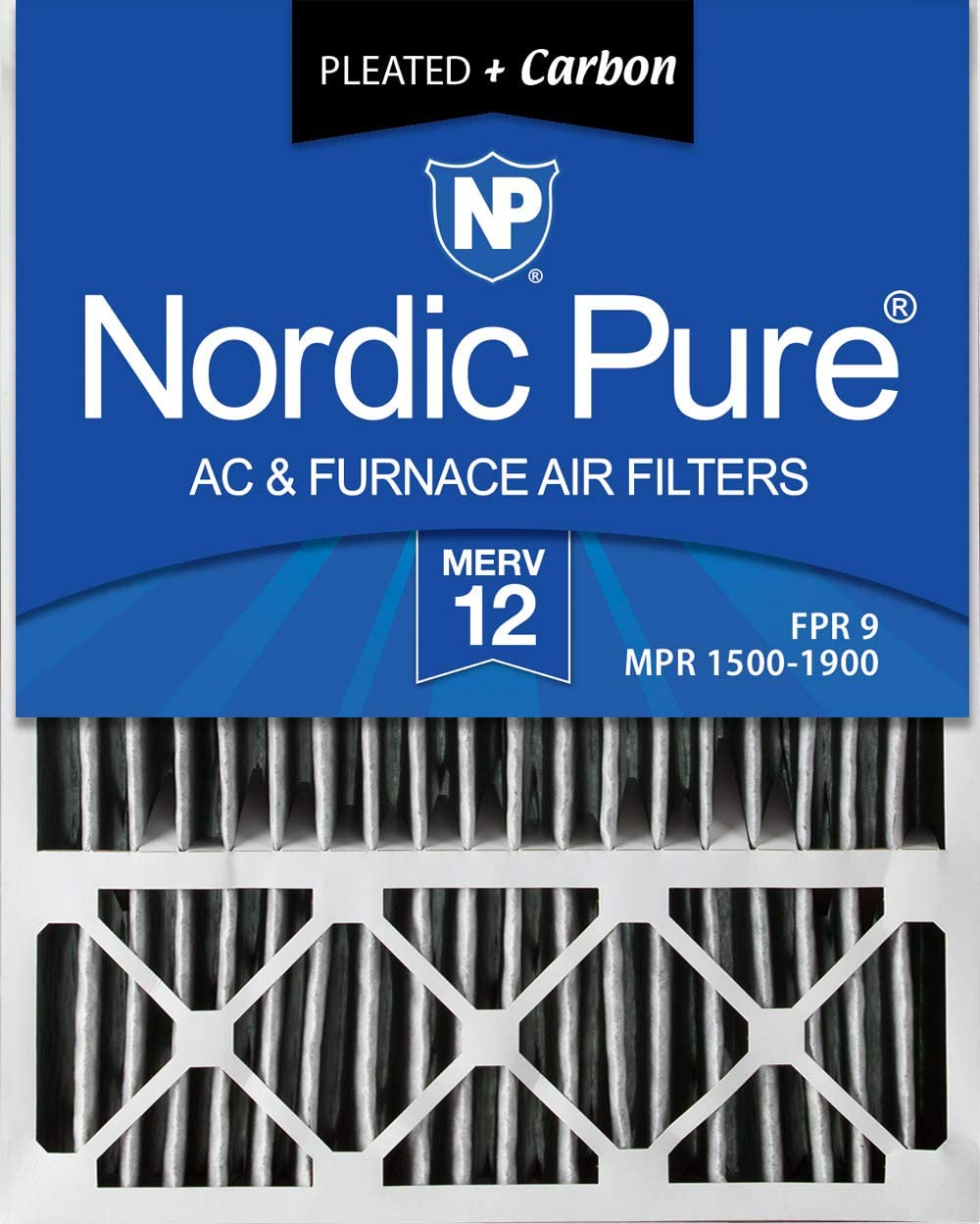 Nordic Pure 20x25x5 MERV 12 Pleated Plus Carbon Honeywell/Lennox Replacement AC Furnace Air Filters 2 Pack