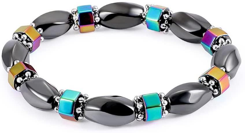 minansostey Fashion Magnetic Bracelet, Bead Hematite Stone Therapy Health Care Bangle Unisex