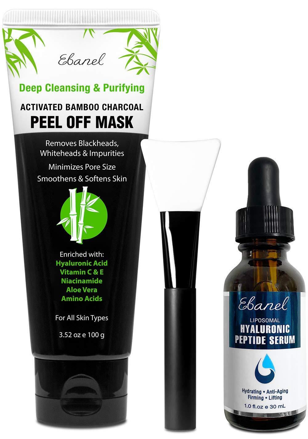 Ebanel Bundle of Charcoal Peel Off Face Mask 3.52 Oz, and Hyaluronic Acid Serum 1 Oz