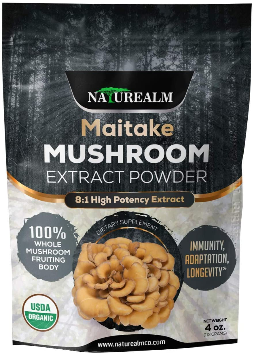 Maitake Mushroom Extract Powder - Natural Adaptogen Supplement - Immune Support, Blood Sugar Regulation, Cellular Health - 100% Whole Mushrooms - USDA Certified Organic - 4oz. (113g)
