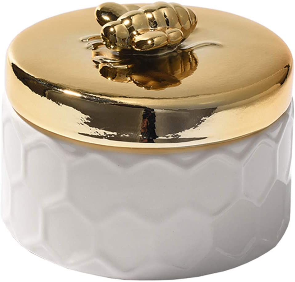 SELLONWANELO Cute Bee Ashtray Cigar White Windproof Ceramic Ash Tray for Weed Cigarettes with Lid
