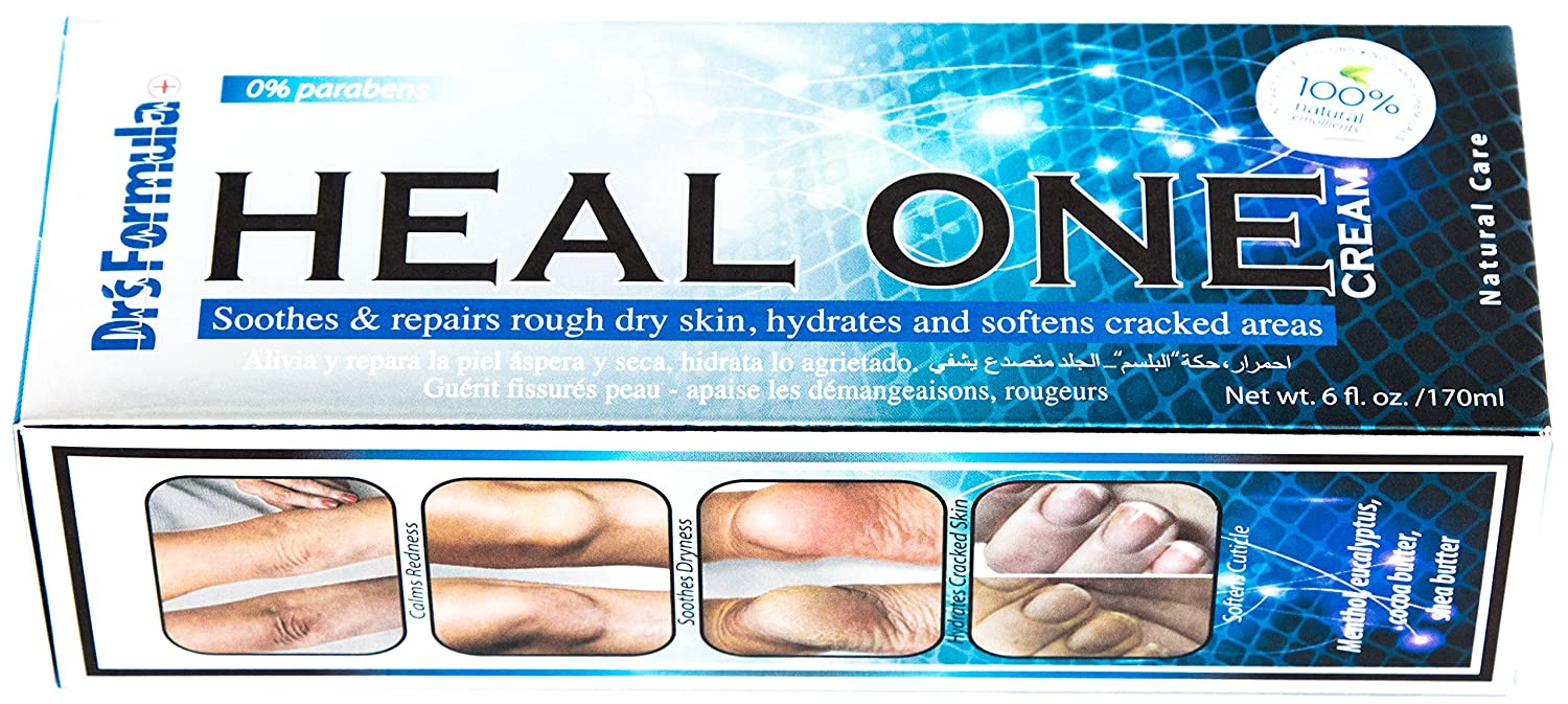 Dr's Formula Heal One Cream: Hydrates and Softens Dry Cracked and Calloused Feet & Heel, Calms Redness and Irritation, Soothes, Repairs and Protects Rough Dry Skin (6 oz Tube)