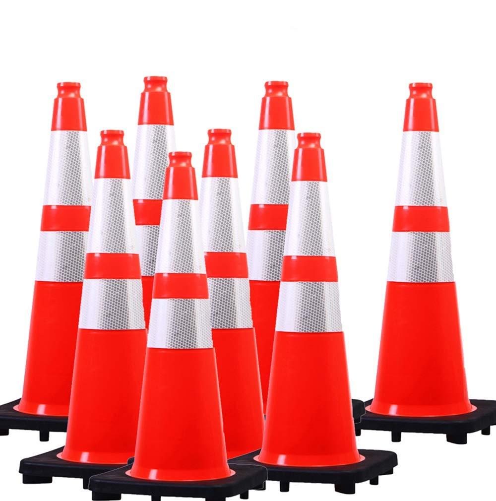 "(8 Cones) Orangeplas 28"" Orange PVC Safety Traffic Cone,Black Base Construction Road Parking Cone Structurally Stable Wearproof (28"