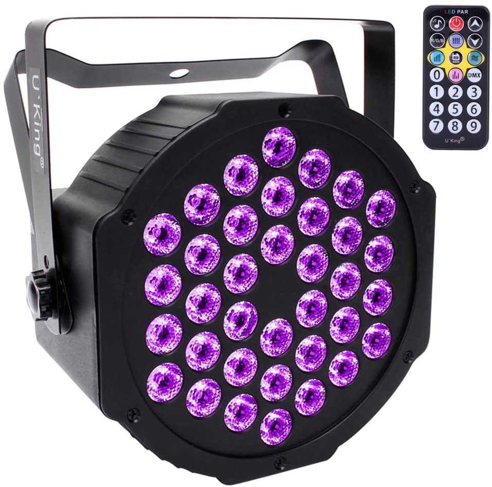 U`King Black Lights 2W x 36 UV LED Black Light with Remote for Blacklight Glow Party Bars Body Paint Stage Lighting Glow in The Dark Supplies