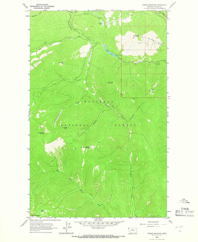 Map Print - Turner Mountain, Montana (1963), 1:24000 Scale - 24