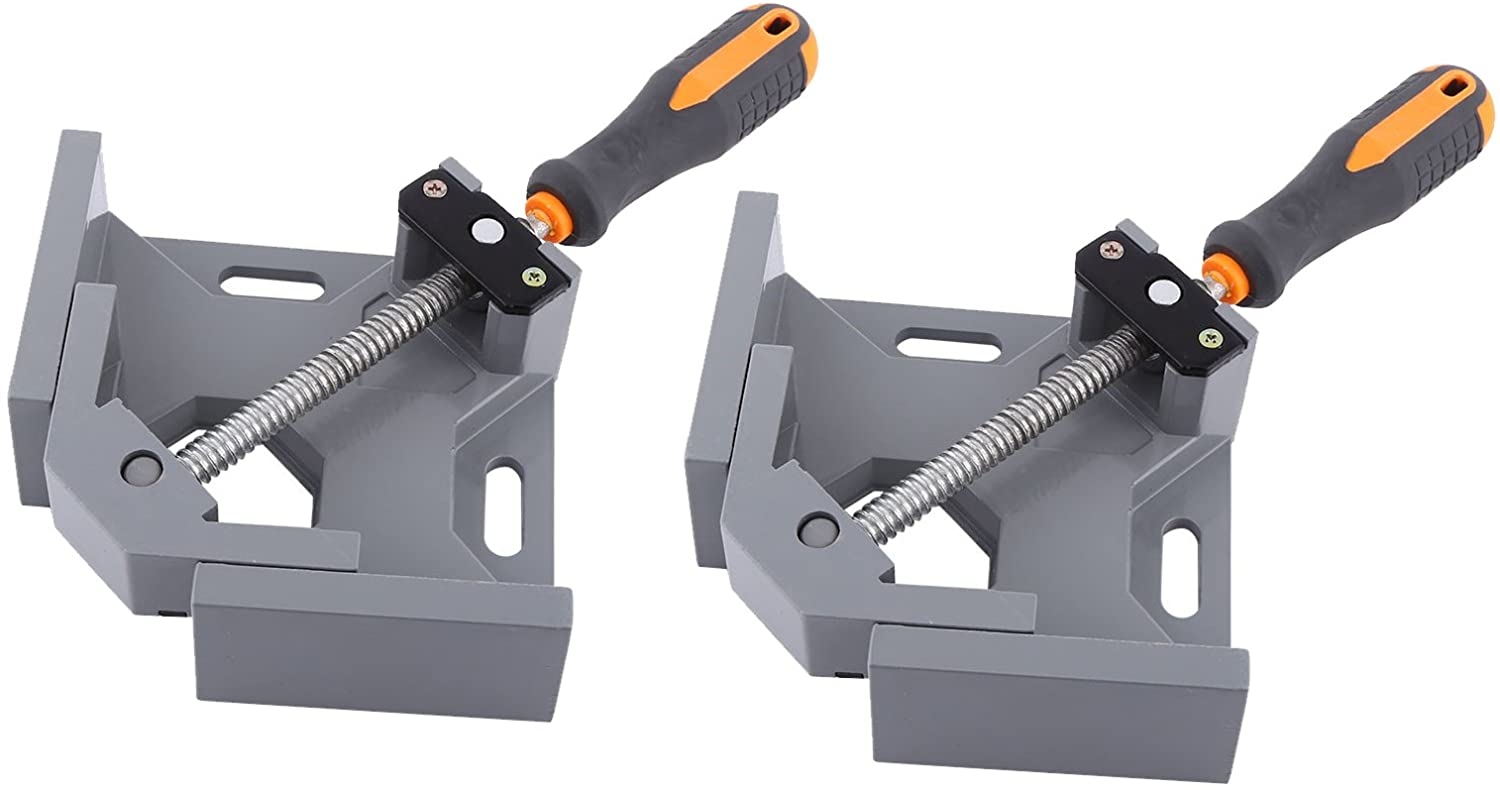 2 Set of NUZAMAS 90 Degree Corner Clamp Right Angle Clamp Aluminum Alloy Made, Adjustable Swing Jaw Corner Clamp, Woodworking Vice Wood Metal Welding Gussets, Single Handle