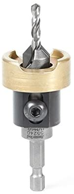 Amana Tool - (55240) Carbide Tipped 82° Countersink with Adjustable Depth Stop & No-Thrust Ball Bearing, 1/2 Dia x 11/64 Dri