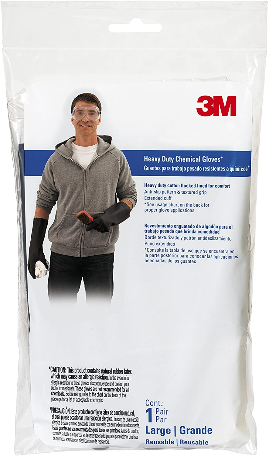 3M Heavy Duty Chemical Gloves, ChemXLongP1-DC, Large