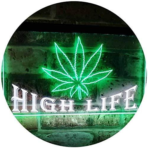 ADVPRO Marijuana Hemp Leaf High Life Dual Color LED Neon Sign White & Green 16