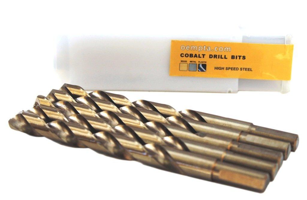 1/2-Inch Cobalt Drill Bit, 135 Split Point Tip, Tri-Cut Shank, 5 Pack