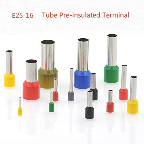 Davitu Terminals - 10/50pcs Tube insutated cord end terminals Electrical crimp terminal block wire connector E25-16 cable ferrules 4AWG 25mm2 - (Color: red, Pins: 50pcs)
