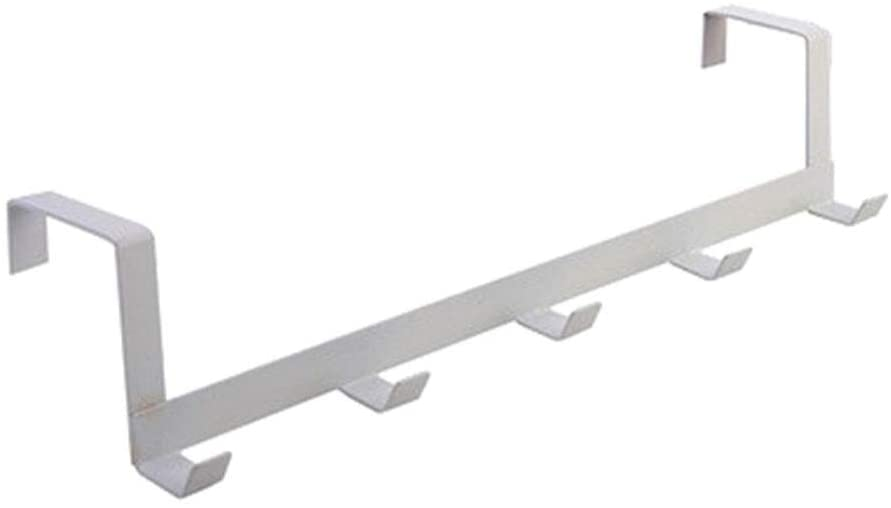 WILAIN 5 Hooks Iron White 29 X 7.5 X 6.3cm Clothes Coat Hat Towel Hanger Door Rack Home Bathroom Storage Bag Paper Towel Rack (Color : A)