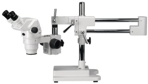 AmScope ZM-4BW3 Professional Binocular Stereo Zoom Microscope, EW10x and EW25x Eyepieces, 2X-225X Magnification, 0.67X-4.5X Zoom Objective, Ambient Lighting, Double-Arm Boom Stand, Includes 0.3x and 2.0x Barlow Lenses