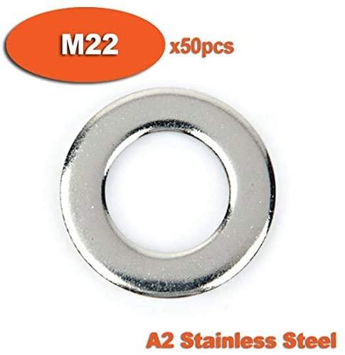 Ochoos 50pcs DIN125 M22 A2 Stainless Steel Flat Washer Washers