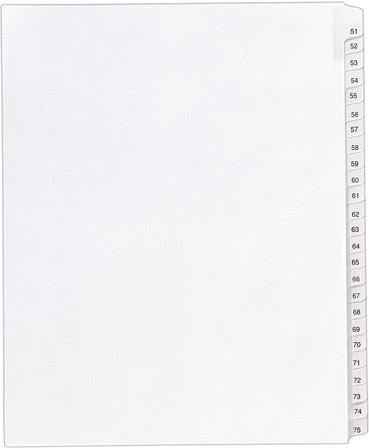Avery Legal Dividers, Allstate Collated Sets, Letter Size, Side Tab and 51-75 Tab Set (01703),White