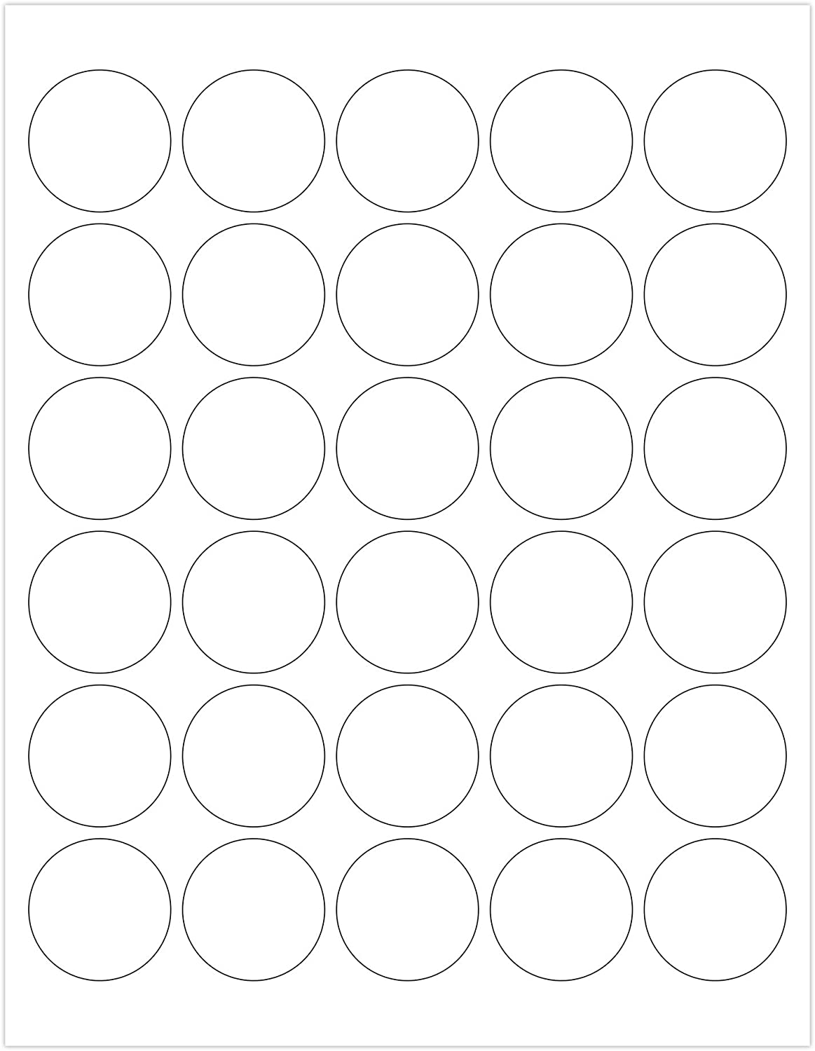 ChromaLabel 1-1/2 Inch Round Printable Labels, Compatible with Laser and Inkjet Printers, 750 Pack, 25 Sheets, White