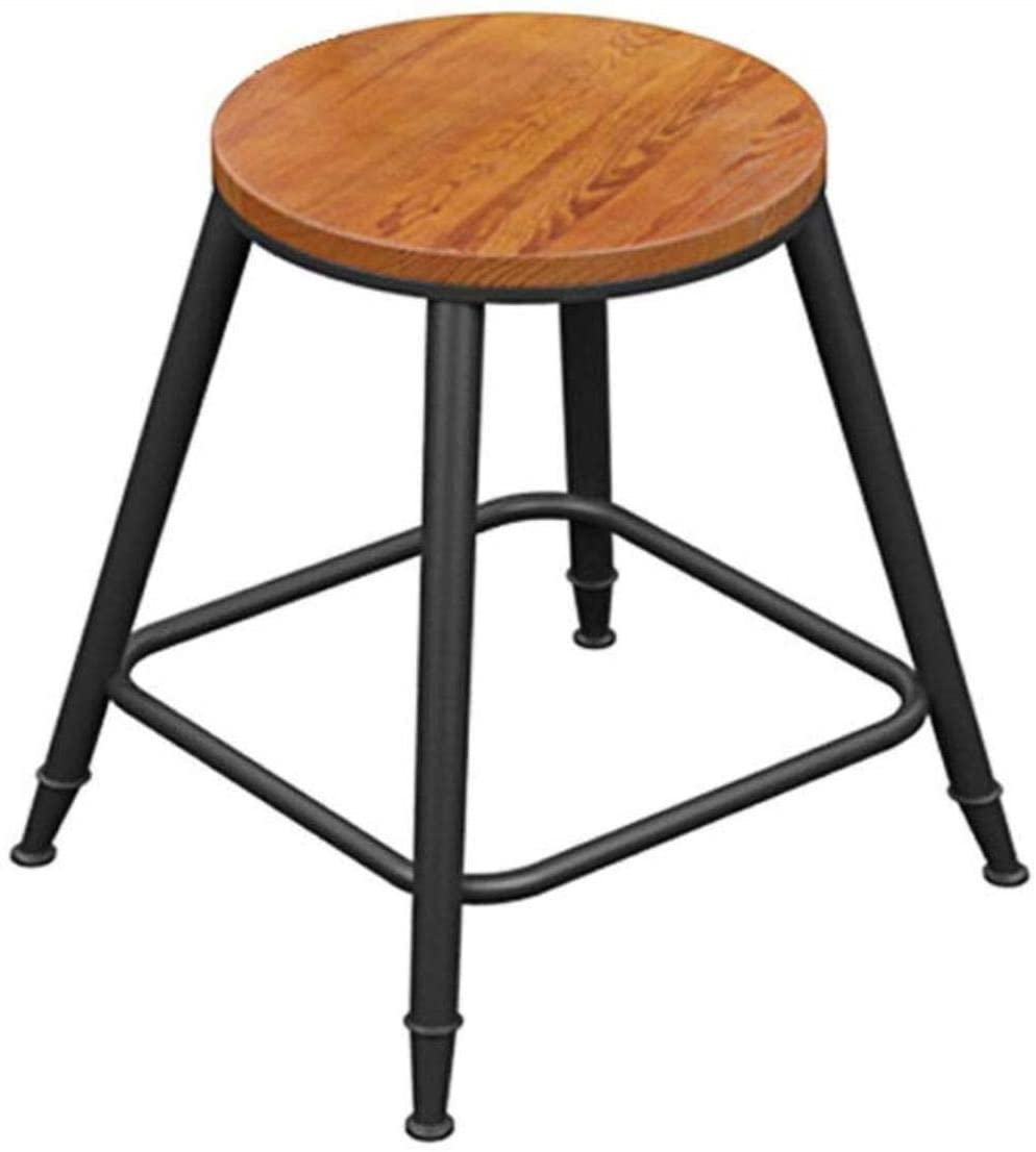 PLLP Bars, Cafes, Restaurant Chairs,Chair Bar Chair Bar Stoolwrought Iron Wood Bar Stool High Stool Bar Stool Simple High Bar Chair Front Stool Stool Dining Chair Cafe Chair, 4 Sizes (Size : 43X43X6