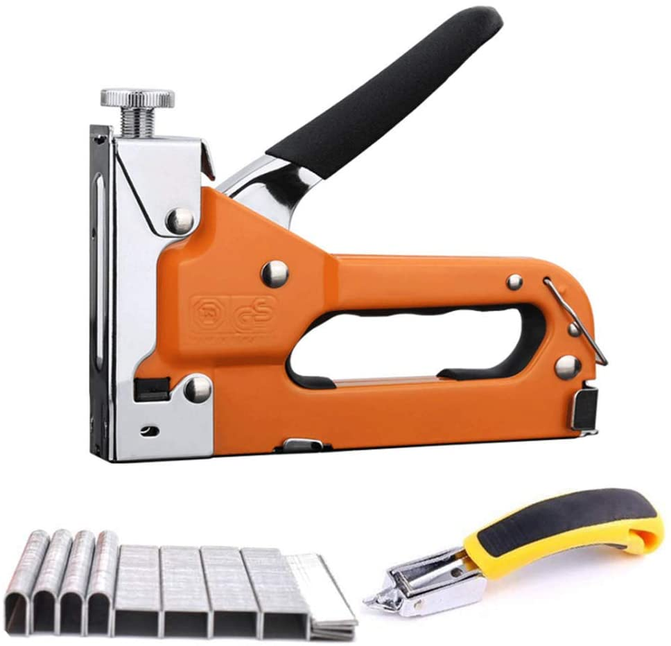 Staple Gun for Upholstery,3-In-1 Manual Tacker Nail Gun with Staple Remover And 3600 Staples,Hand Staple Gun Kit for Fixing Material, Carpentry, Furniture,Doors And Windows,160×136Mm