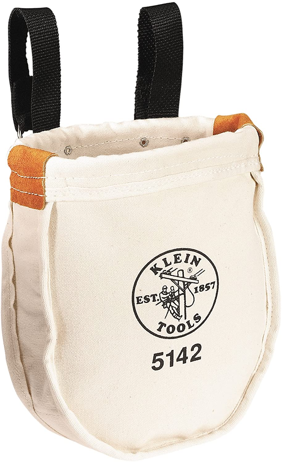 Klein Tools 5142 Heavy Tool Bag, No. 8 Canvas Utility Bag, Reinforced with Rope and Tanned Leather, Loop Belt Connection, 9 x 8 x 10-Inch
