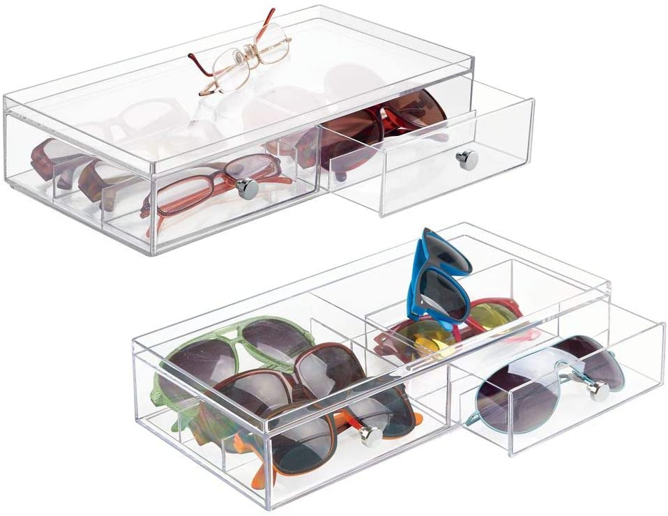 mDesign Wide Stackable Plastic Eye Glass Storage Organizer Box Holder for Sunglasses, Reading Glasses, Accessories - 2 Divided Drawers, Chrome Pulls, 2 Pack - Clear
