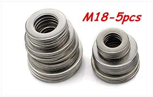 Ochoos 5pcs M18 304 Stainless Steel Flat Washer Plain Washer Flat Gasket