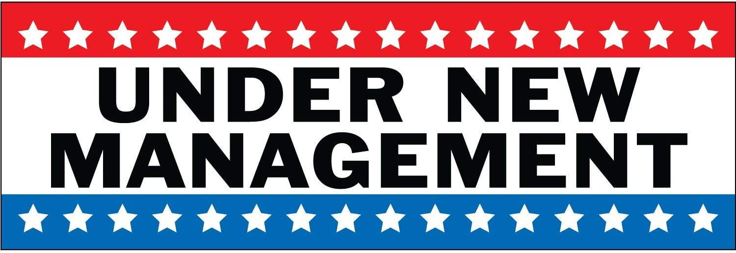 HALF PRICE BANNERS | Under New Management Vinyl Banner-Indoor/Outdoor 2X6 Foot -Stars | Includes Zip Ties | Easy Hang Sign-Made in USA