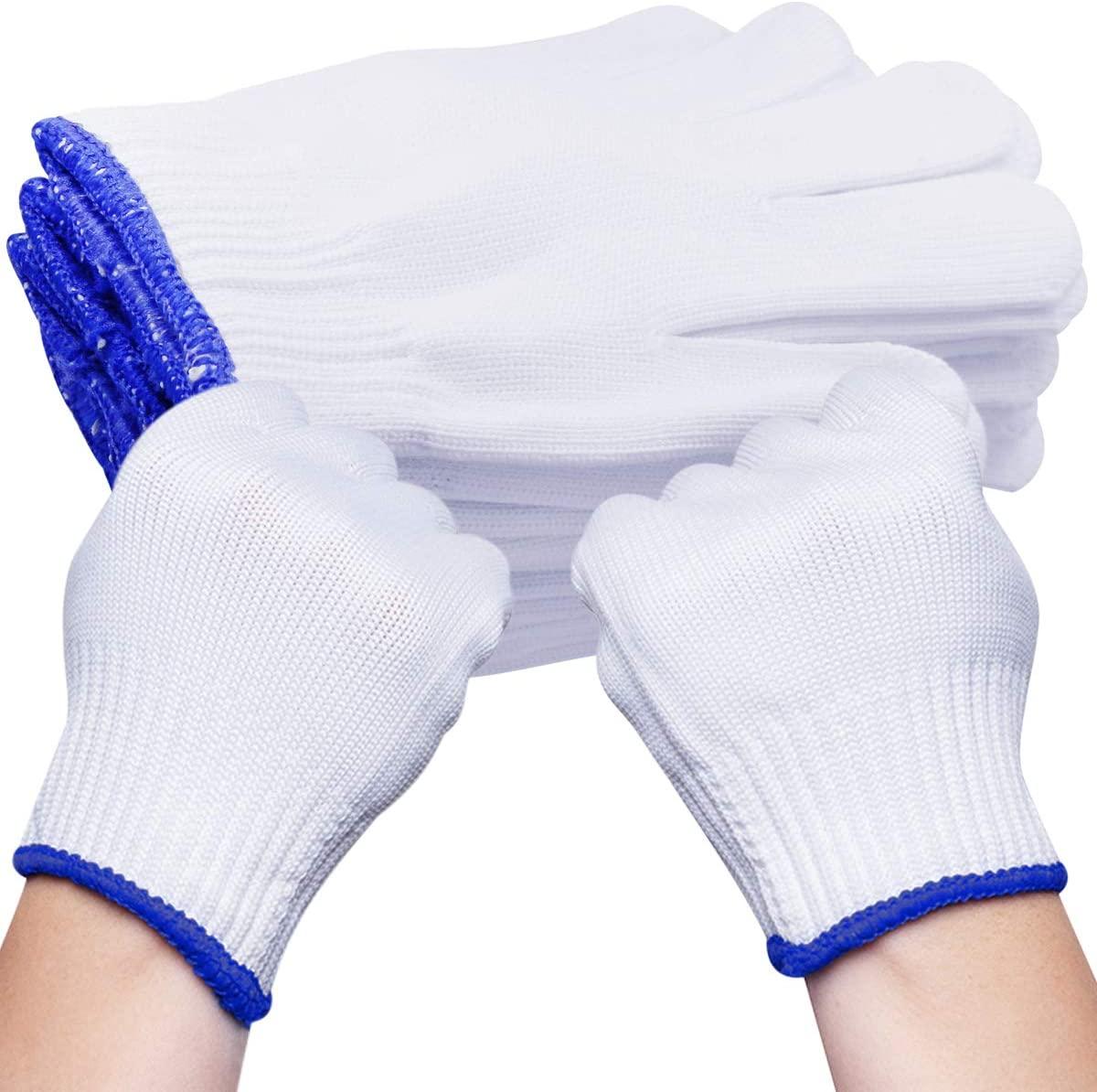 QY 5Pair Sturdy Labor Glove Thickened Cotton Gloves String Knit Gloves Work Gloves General Gloves White