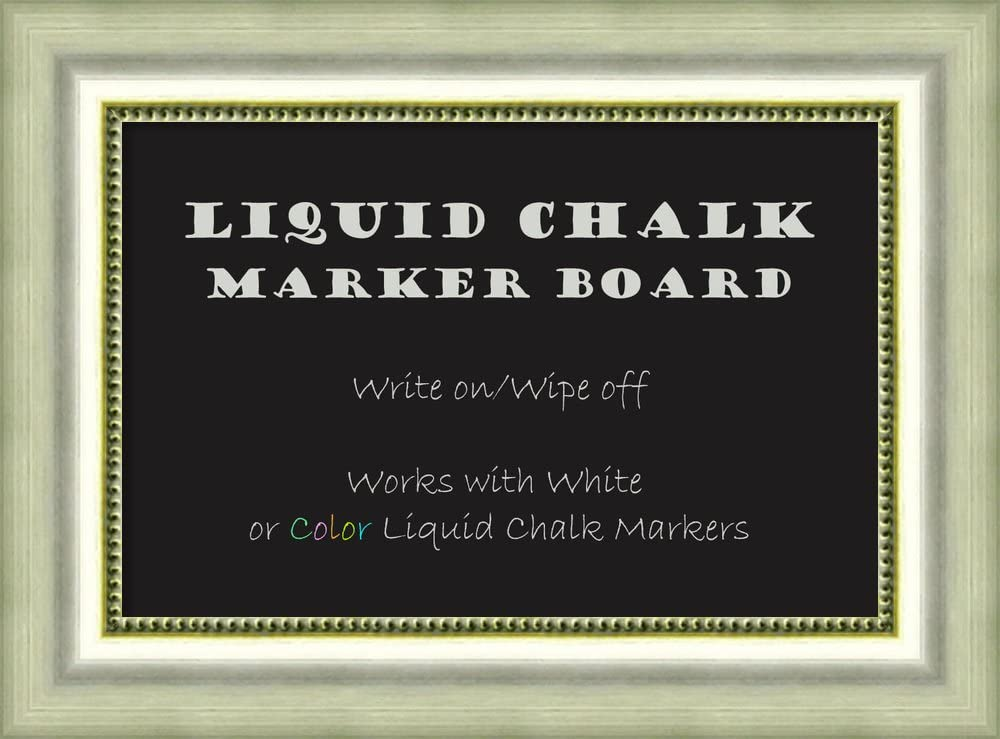 Amanti Art Framed Liquid Chalk Marker Board, Vegas Burnished Silver Small - 23 Inches X 17 Inches