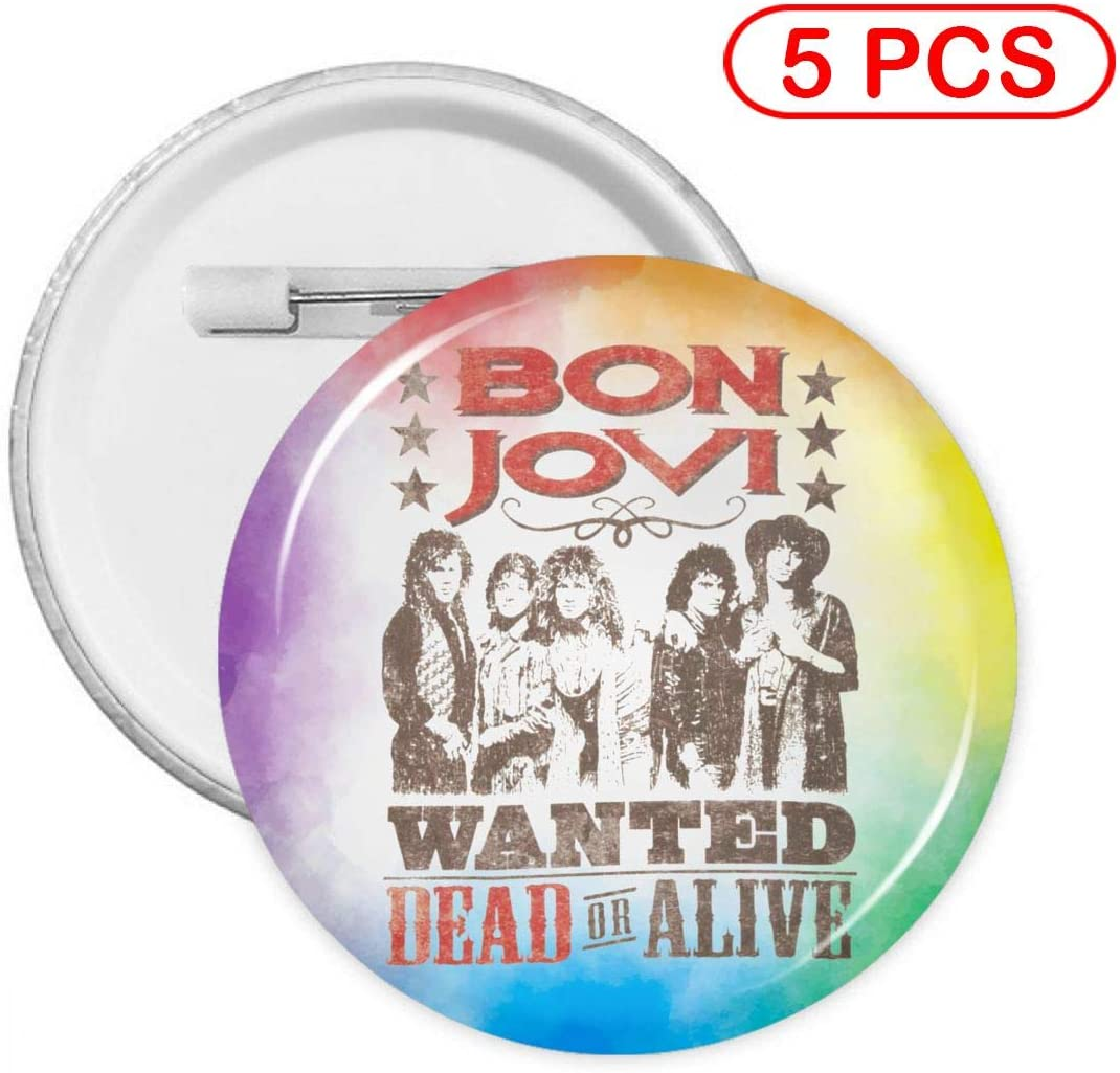 Luomingg Bon Jovi Wanted Dead Or Alive 5 Pcs Medium Round Badge Button Buckle with Pin