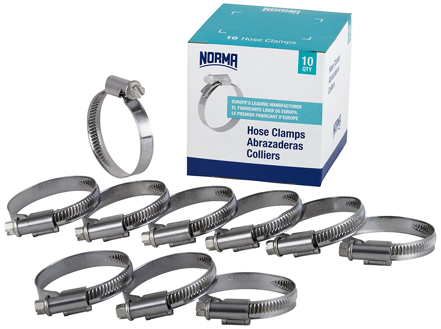NORMA 01266704013-000-0538 Hose Clamps, 8 mm-16 mm x 9 mm W4 (Pack of 10)