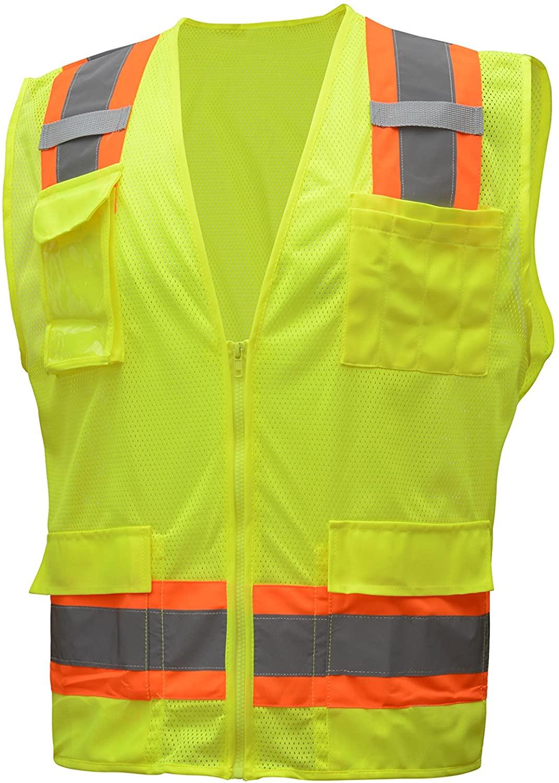 CJ Safety CJHVSV2009 ANSI Class 2 High Visibility Two Tone Mesh Safety Vest - Multi Pockets (Medium, Green)