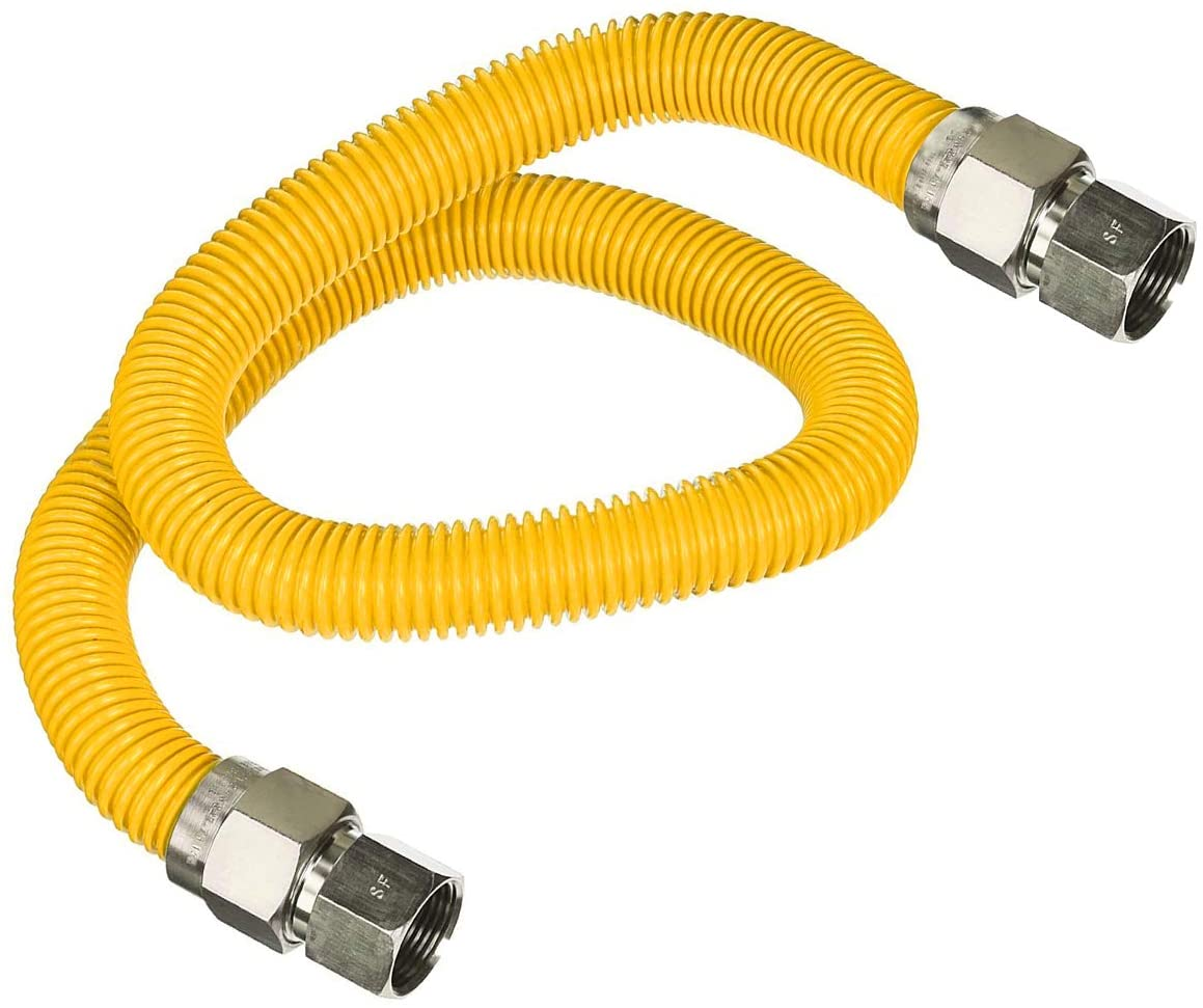 Highcraft GUHDZD1260P Flextron FTGC-YC12-60O Flexible Epoxy Line, Pipe Connector with 5/8 in. Outer 1/2 in. Inside Diameter x 3/4 in FIP Fittings Yellow/Stainless Steel Gas Hose 60 in. Long