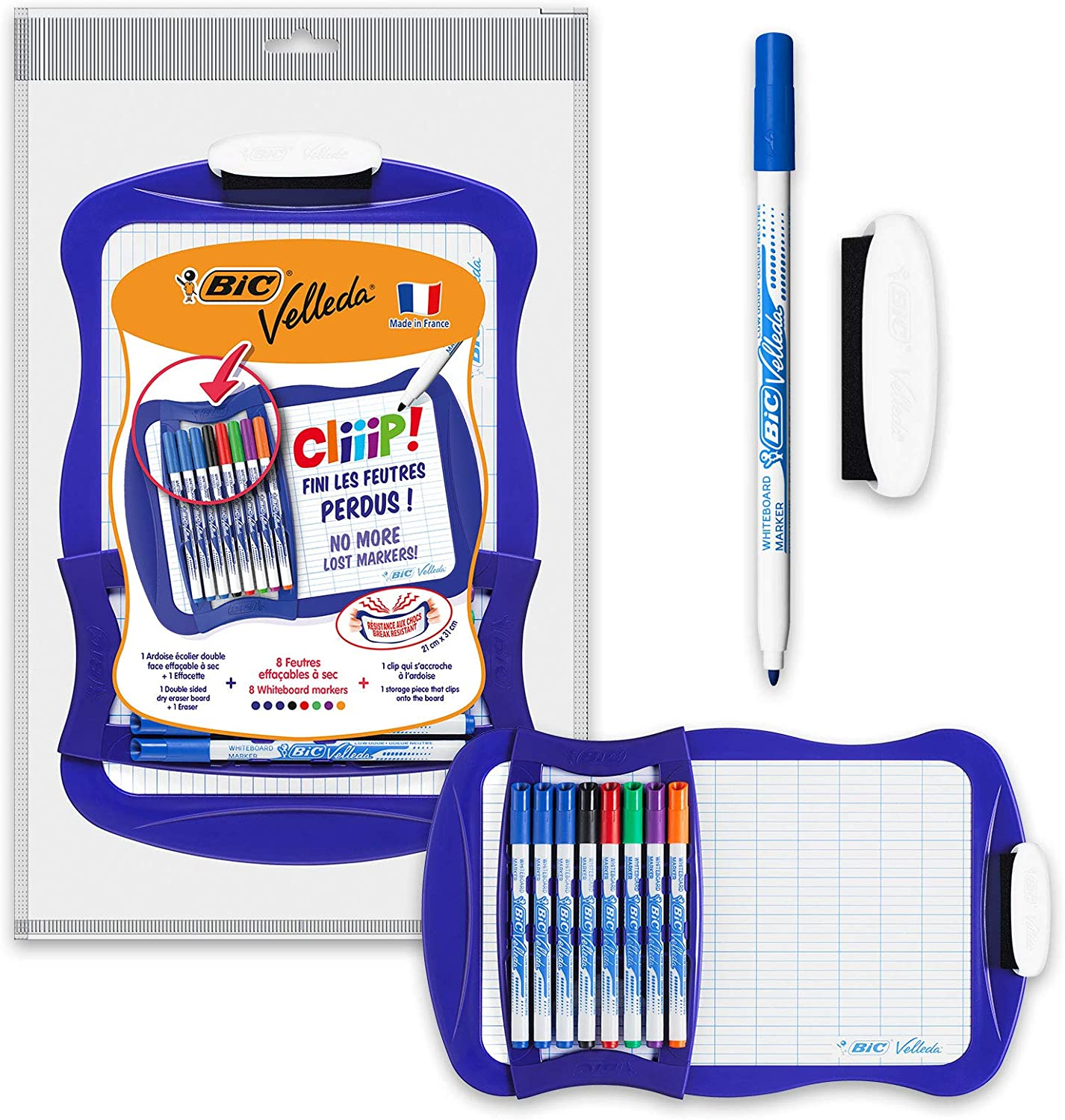 BIC Velleda Cliiip Whiteboard Set 21 x 31 cm Wiper 8 Erasable Markers Assorted Colours