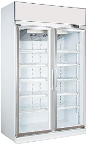 1050L Glass Display Side by Side Pull Door Ventilated Cooling Frost-Free Beer Soda Beverages Showcase Commercial Refrigerator Merchandise Upright Cooler 37.1 cu. ft. Cabinet